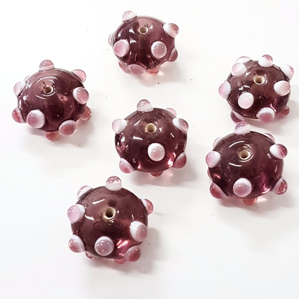 Bumpy Purple Lampwork Glass Bead