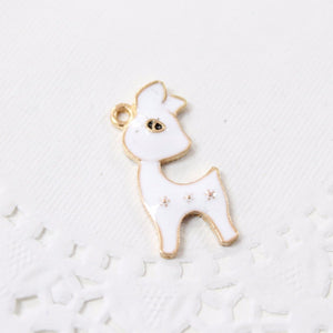 Cute White Enamel Deer Charm