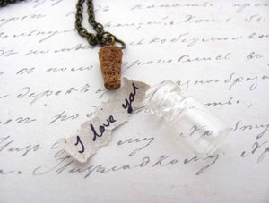Tiny Message in a Bottle Necklace