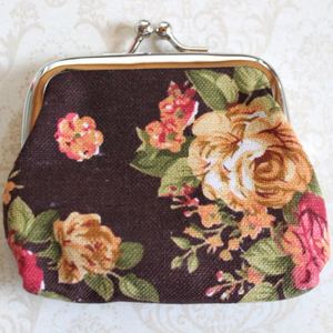 Brown Rose Coin Purse
