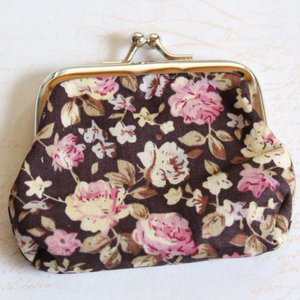 Brown Floral Coin Purse