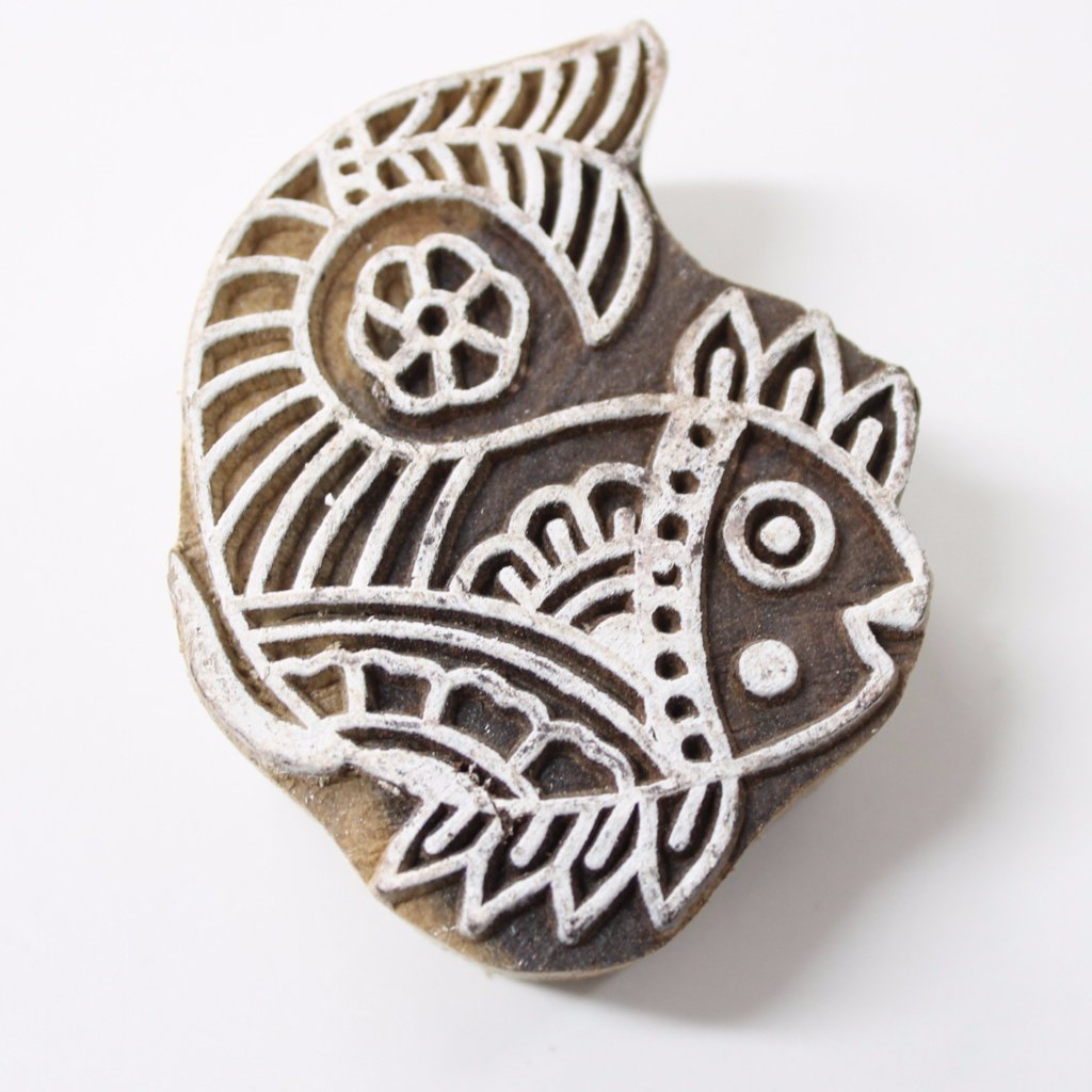 Fish Hand Carved Indian Block Stamp