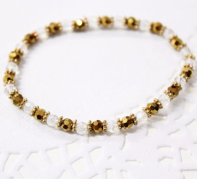 Gold and Crystal Beaded Bracelet