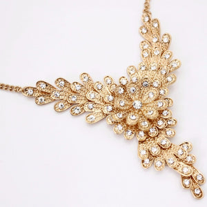 Gold Rhinestone Floral Necklace