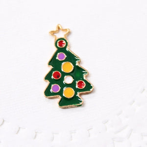 Green Enamel Christmas Tree Charm