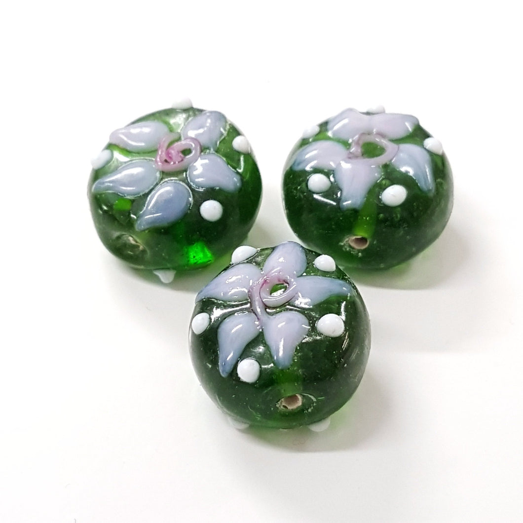 Green Flower Lampwork Glass Bead