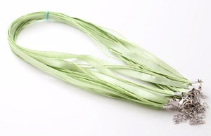 Green Silk and Cotton Wax Necklace