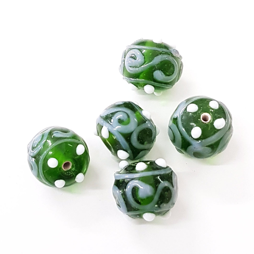Green Swirl Lampwork Glass Bead