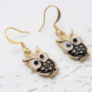 Black Owl Enamel Earrings