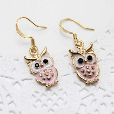 Pink Owl Enamel Earrings