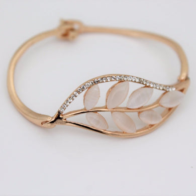 Leaf Rhinestone Bangle
