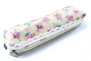 Light Brown Floral Fabric Pencil Case
