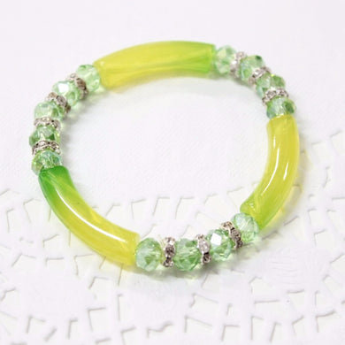 Lime Green Beaded Stretch Bracelet