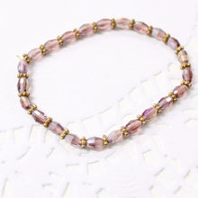 Mauve Beaded Crystal Bracelet
