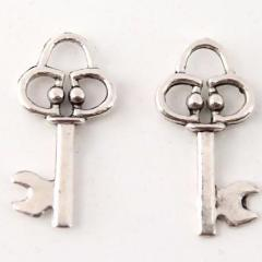 Mini Antique Silver Key Charm