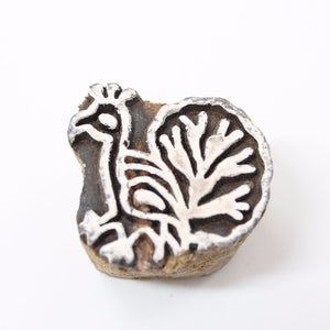Mini Peacock Carved Wooden Stamp