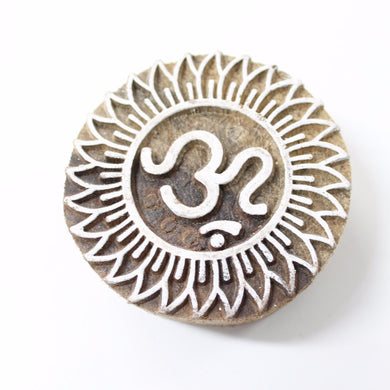 Om Hand Carved Indian Block Stamp
