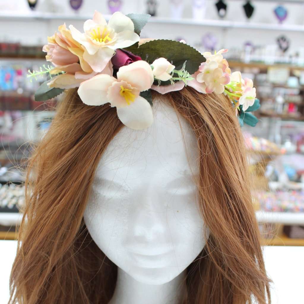 Peachy Pink Flower Hair Crown