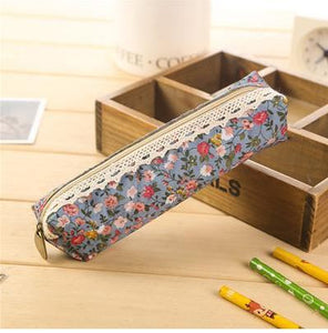 Blue Floral Fabric Pencil Case