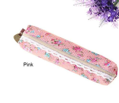 Pink Floral Fabric Pencil Case