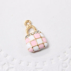 Pink and White Hand Bag Enamel Charm