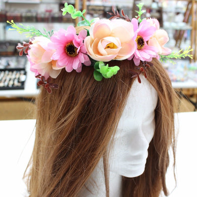 Pink Peach Floral Hair Crown
