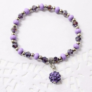 Purple Beaded Stretch Bracelet