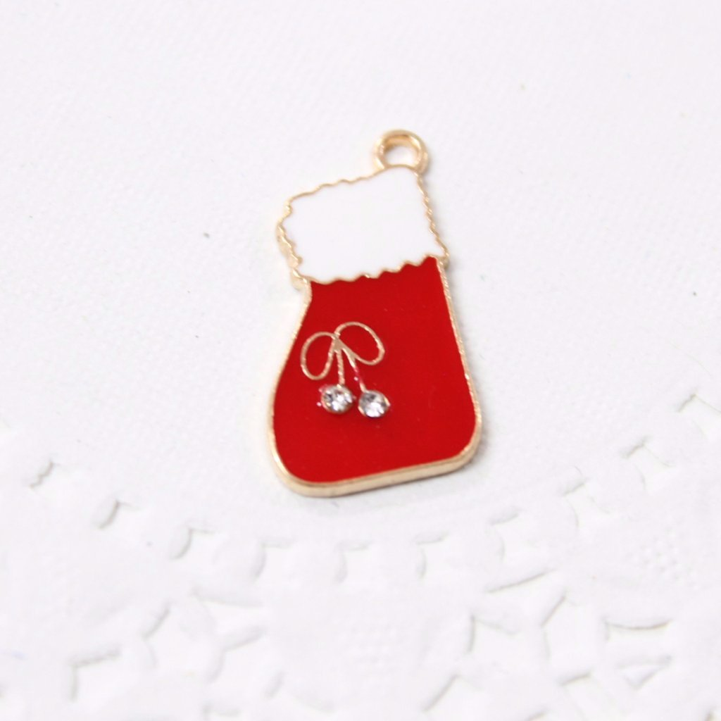 Red and White Christmas Stocking Charm