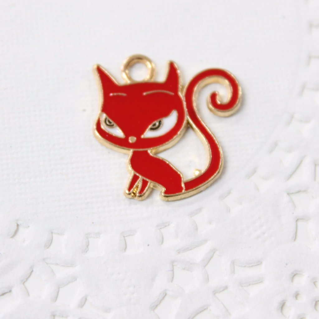Red Cat Enamel Charm