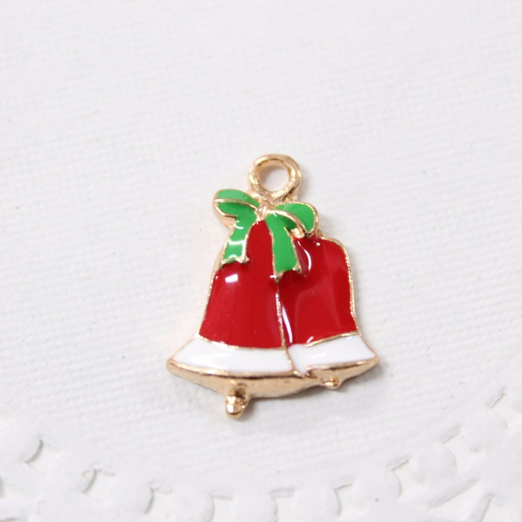 Red Christmas Bells Enamel Charm