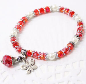 Red Crystal Beaded Stretch Bracelet
