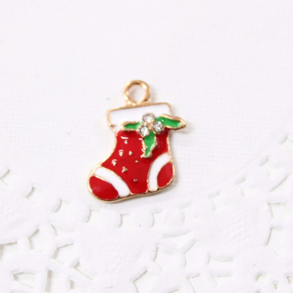 Red Enamel Christmas Stocking Charm