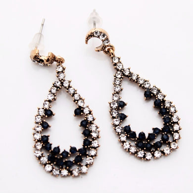 Rhinestone Encrusted Tear Drop Earrings