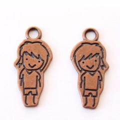 Smiling Boy Antique Copper Charm