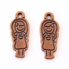 Smiling Girl Antique Copper Charm