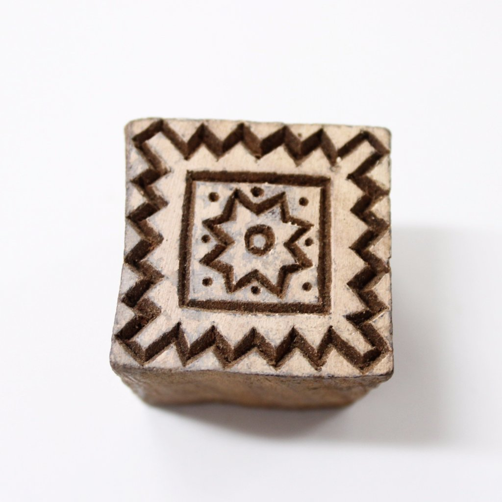 Square Hand Carved Indian Stamp
