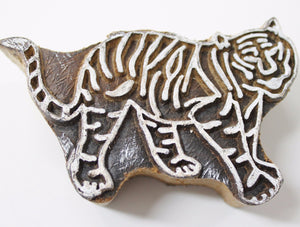 Tiger Hand Carved Indian Block Stamp
