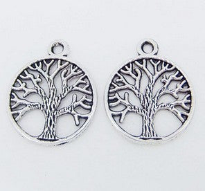 Tree of Life Charm Antique Silver