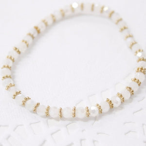White and Gold Crystal Beaded Bracelet