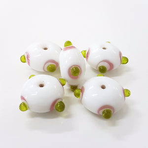White and Green Bumpy Lampwork Bead