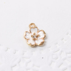 White Enamel Rhinestone Flower Charms