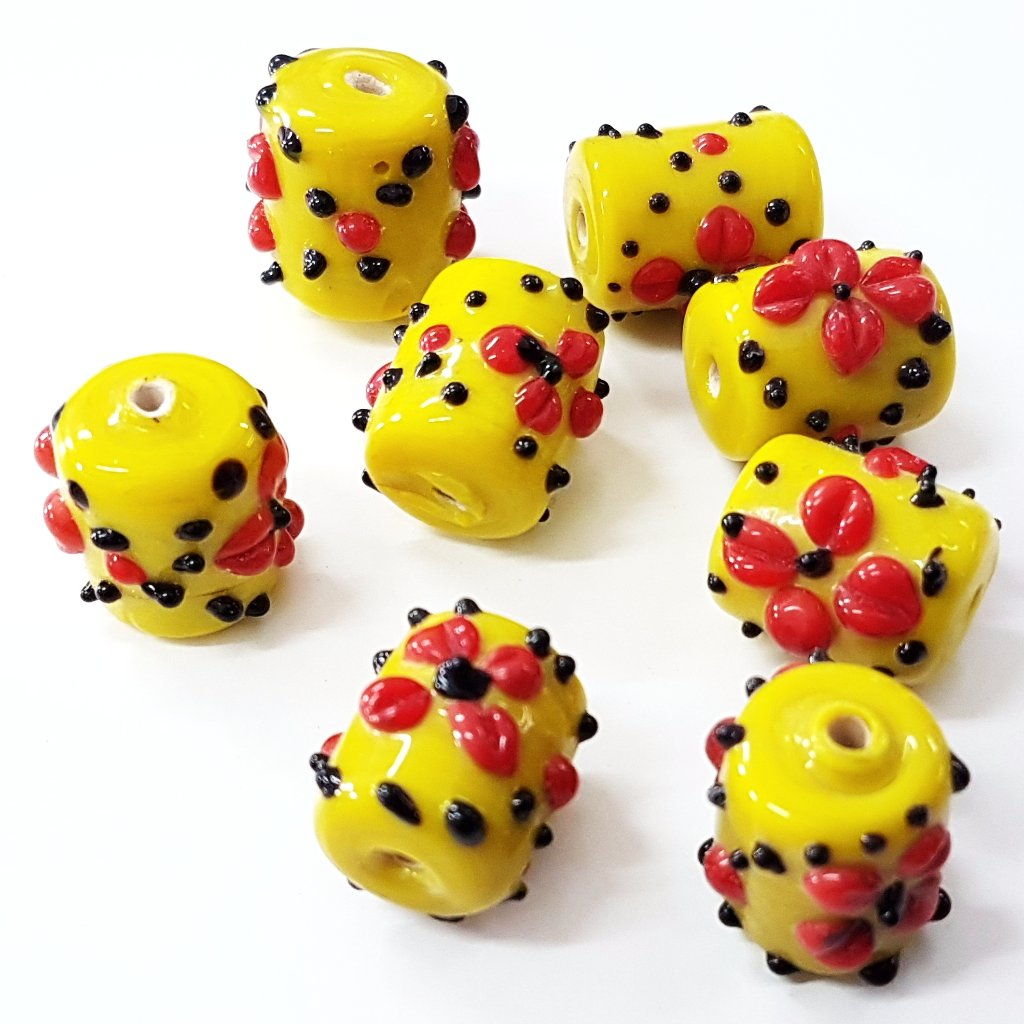 Yellow Floral Lampwork Bead