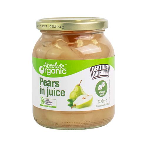 Organic Pears In Juice 350g