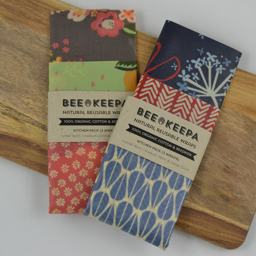 Beeswax Wraps - Kitchen Pack (3 wraps)