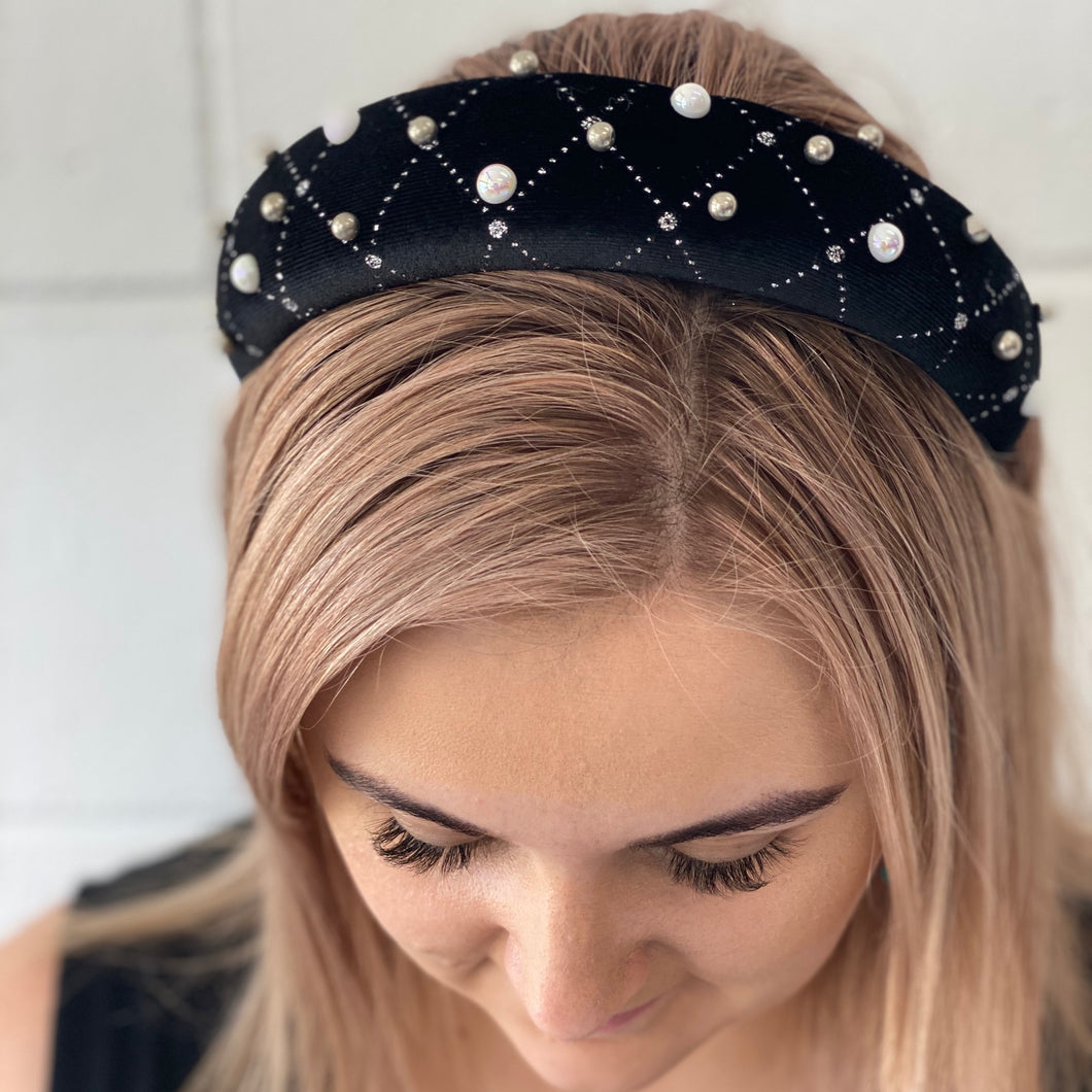 Diamond Check Headband - G&E BOUTIQUE