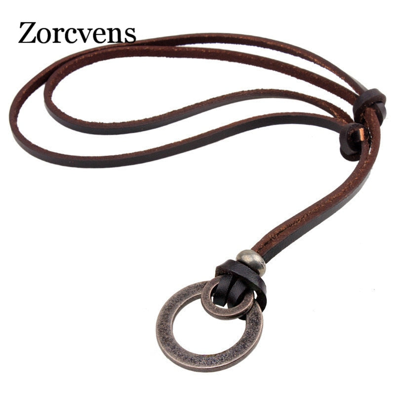 ZORCVENS Metal Hoops Leather Necklace, Necklace, Mainstreet Male, Mainstreet Male