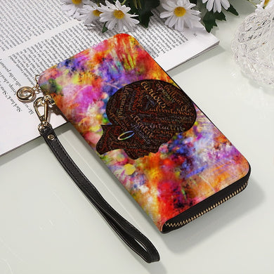 Multi-color Afro PU Leather Wallet/ Long Clutch Purse