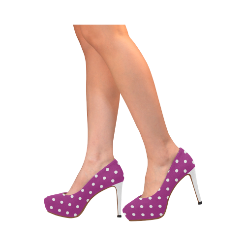 Purple and White Polka Dot Platform Heel Women's High Heels