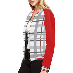 Greay Red Plaid Bomber Jacket All Over Print Bomber