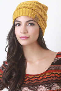 Solid Ridged Knit Beanie